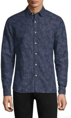 Michael Kors Printed Linen Button-Down Shirt