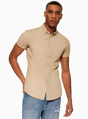 TopmanTopman Stone Stretch Skinny Oxford Shirt