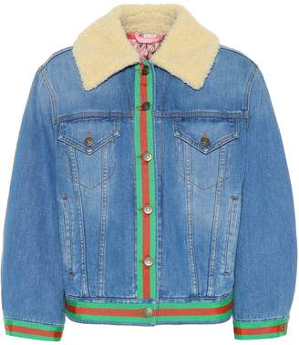 Gucci Denim jacket with faux shearling