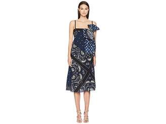 RED Valentino Medium Bandhana Print Silk Crepe De Chine Dress with Taffeta Bandhana Print Bow