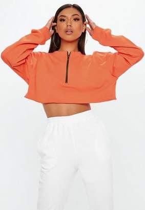 Missguided Orange Boxy Cropped Zip Front Sweatshirt