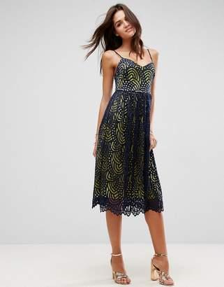 Asos Contrast Lace Cami Midi Prom Dress