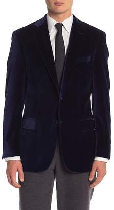Hart Schaffner Marx Navy Velvet Two Button Notch Lapel Classic Fit Blazer