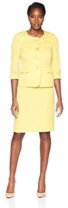 Le Suit LeSuit Women's Jacquard 4 Bttn Collarless Skirt Suit