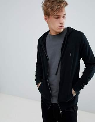 AllSaints zip through lightweight hoodie in black