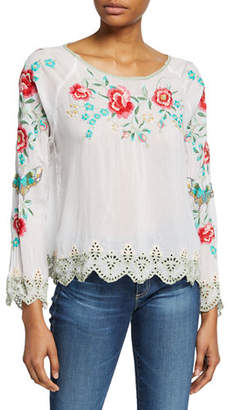 Johnny Was Reena Floral Embroidered Long-Sleeve Scallop Hem Georgette Top