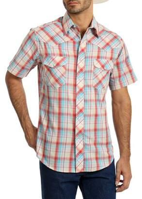 Wrangler Big Men's Short Sleeve Plaid Western Shirt