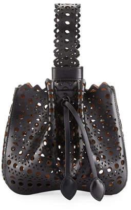 Alaia Lux Laser Cut Bucket Bag, Noir