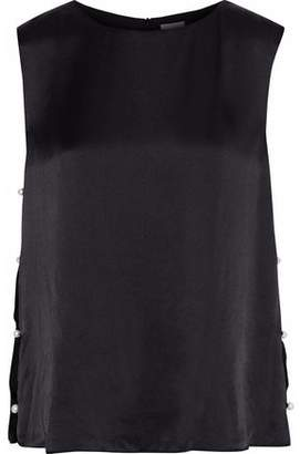 CAMI NYC The Kate Faux Pearl-Embellished Silk-Charmeuse Top