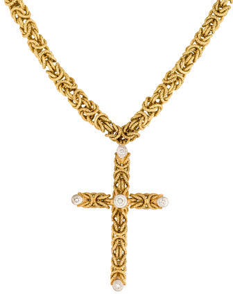 BuccellatiBuccellati 18K Byzantine Chain with Diamond Cross Pendant
