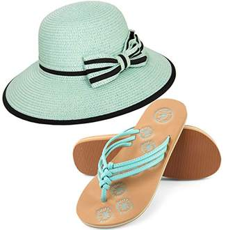 Aerusi Panama Styled Woven Straw Hat and Foam Flip Flop Sandals Bundle Set