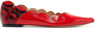 Chloé Lauren Paneled Snake-effect Leather Point-toe Flats - Red