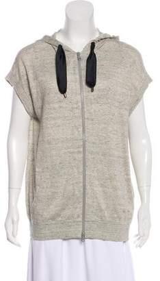 Brunello Cucinelli Short Sleeve Zip-Up Sweater