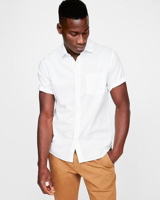 Express Slim White Slub Chambray Cotton Shirt