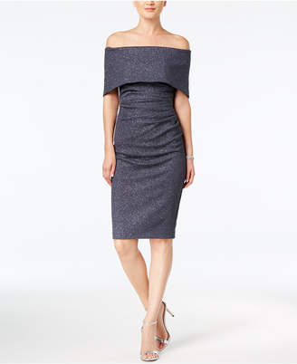 Vince Camuto Off-The-Shoulder Glitter Sheath Dress