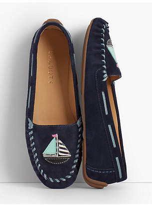Talbots Everson Driving Moccasins - Sailboat Applique