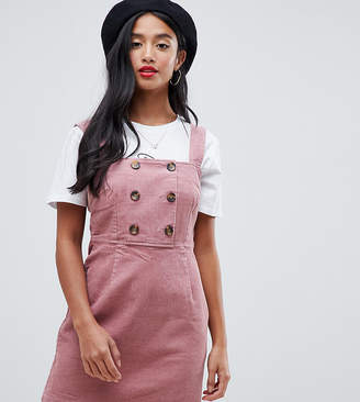 Miss Selfridge Petite cord pinny dress with button detail in pink