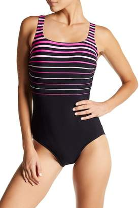 Reebok Striped One-Piece Swimsuit - Extended Sizes Available