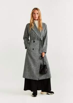 MANGO Textured long coat grey - XXS - Women