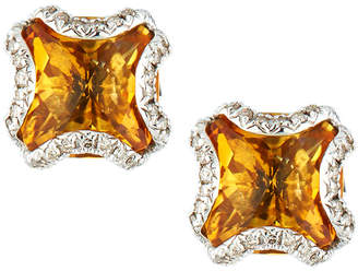 John Hardy Batu Classic Chain Silver Square Stud Earrings with Citrine