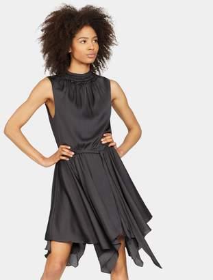 Halston Smocked Mock Neck Dress
