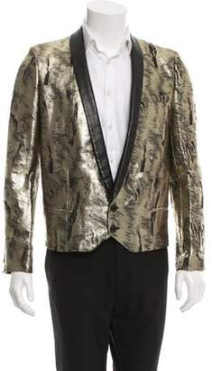 Saint Laurent Leather-Trimmed Jacquard Tuxedo Jacket gold Leather-Trimmed Jacquard Tuxedo Jacket