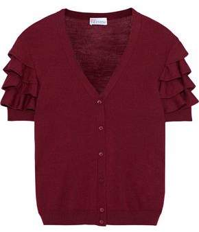 RED Valentino Ruffled Wool Silk And Cashmere-Blend Cardigan