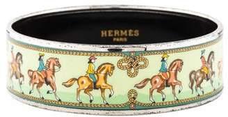 Hermes Horse and Carriage Printed Enamel Wide Bangle Bracelet