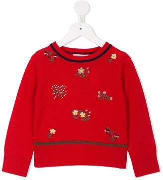 Bonpoint floral embroidered knitted jumper