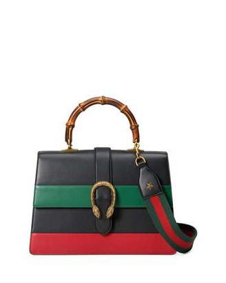 Gucci Dionysus Striped Bamboo Top-Handle Bag, Black/Green/Red $3,500 thestylecure.com