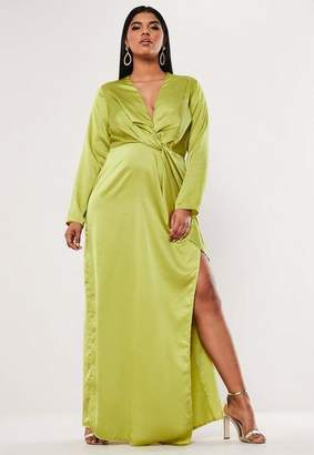 Missguided Plus Size Lime Satin Thigh Split Maxi Dress, Lime
