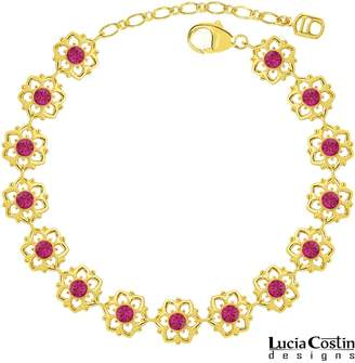 Swarovski Victorian Style Bracelet by Lucia Costin with Crystal Flowers, Adorned with Cute Dots; 24K Yellow Gold Plated over .925 Sterling Silver; Handmade in USA