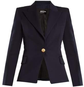 Balmain Single Breasted Wool Blazer - Womens - Navy
