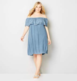 Avenue Chambray Ruffle Eyelet Trim A-Line Dress