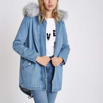 River Island Womens Blue faux fur lined hood denim parka coat