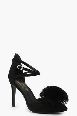 boohoo NEW Womens Pom Pointed Court Shoes in