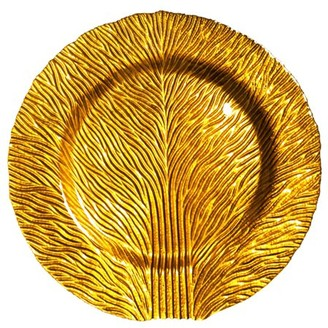 """Red Pomegranate Set Of 2 Tree Of Life 11"""" Gold Dinner Plates"""