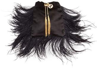 Rosantica Mademoiselle Velvet Feather Clutch Bag