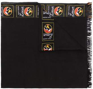 Loewe black logo cashmere blend scarf