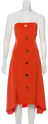 Ji Oh Asymmetrical Strapless Silk Dress