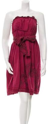 Burning Torch Embroidered Strapless Dress w/ Tags