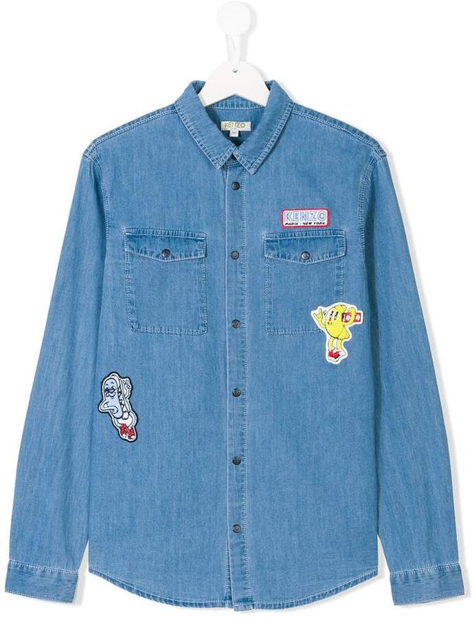 poster patch denim shirt