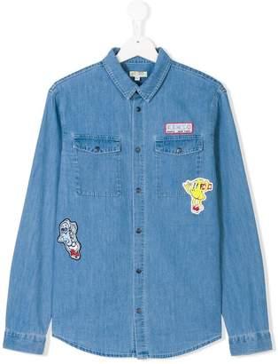 Kenzo poster patch denim shirt