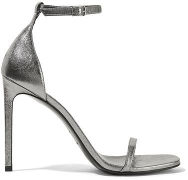 Saint Laurent - Jane Metallic Textured-leather Sandals - Silver