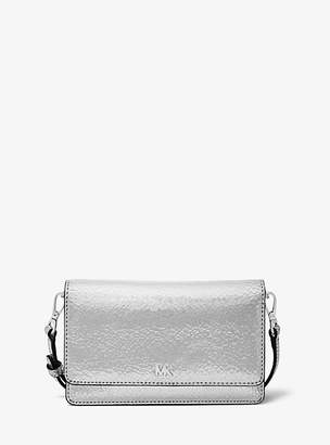 Michael Kors Crackled Metallic Leather Convertible Crossbody Bag