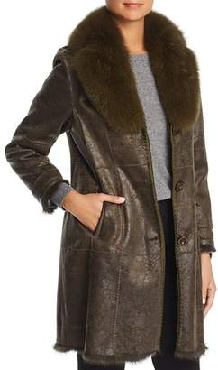 Maximilian Furs Rabbit Fur Coat with Fox Fur Collar