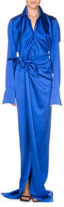 Balenciaga Tilted Stretch Satin Button-Front Blouse