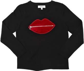 Milly Minis Zipped Lip Viscose Knit Sweater