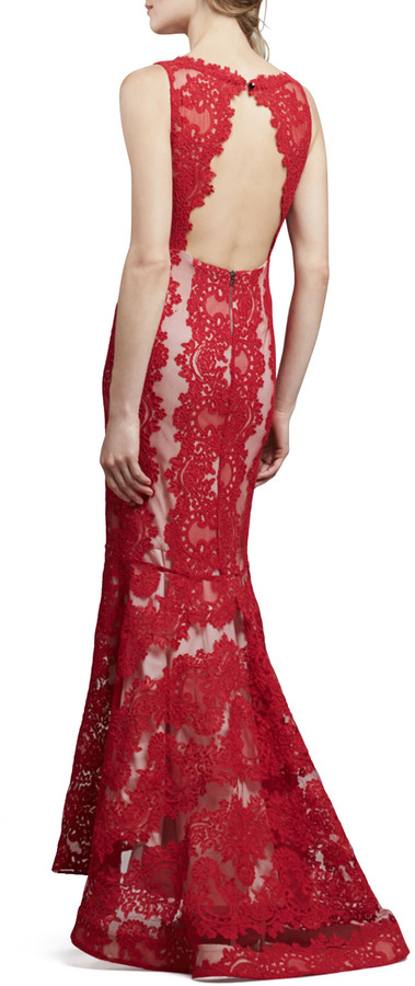 Alice + Olivia Jae Open-Back Lace Gown, Red