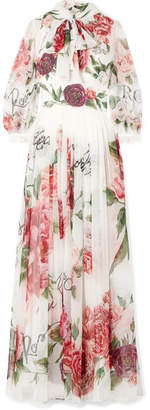 Dolce & Gabbana Pussy-bow Floral-print Silk-chiffon Gown - White